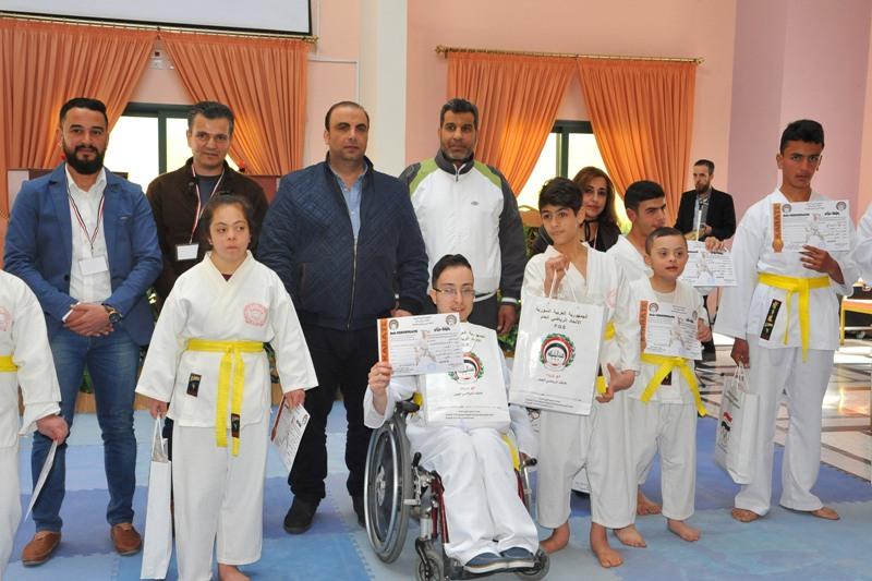 منح الحزام البرتقالي لتسعة أطفال من قرية ذوي الاحتياجات الخاصة بديرعطية